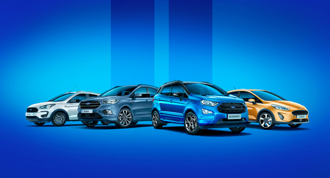 A selection of Ford models lined up.