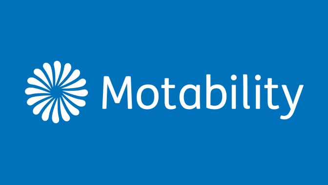 Motability logo on a blue background.