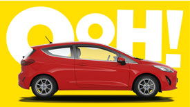 Side view of a red Vauxhall Corsa car in front of the word Wow!.