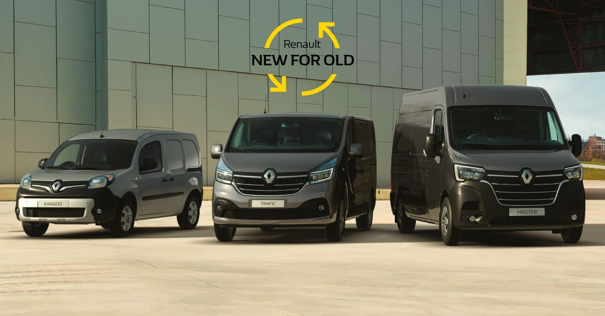 A selection of three Renault vans with the scrappage new for old logo.
